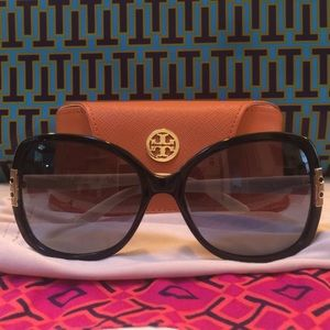 Tory Burch Navy & Cream Oversized Sunglasses